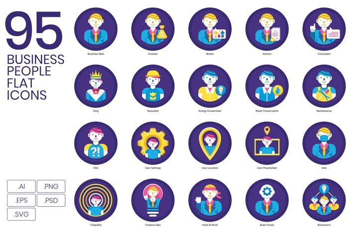 Thumbnail for 95 Business People Flat Icons