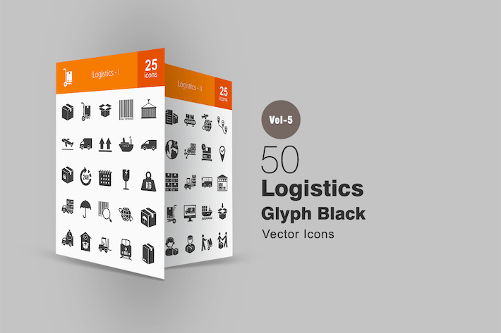 Thumbnail for 50 Logistics Glyph Icons