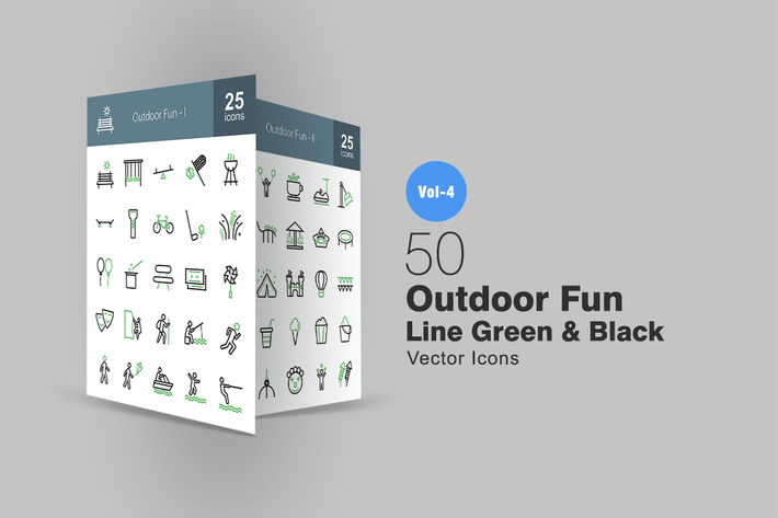 Thumbnail for 50 Outdoor Fun Line Green & Black Icons
