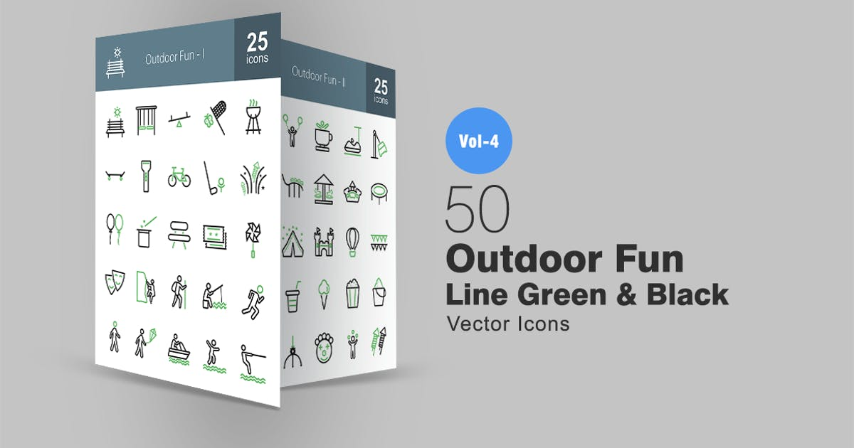 Download 50 Outdoor Fun Line Green & Black Icons by IconBunny