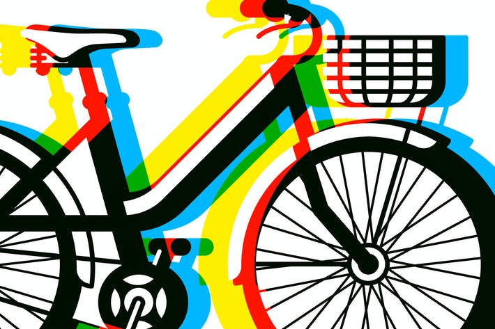 Thumbnail for Bicycle with basket and seamless pattern