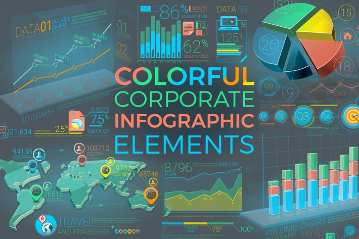 Thumbnail for Colorful Corporate Infographic Elements