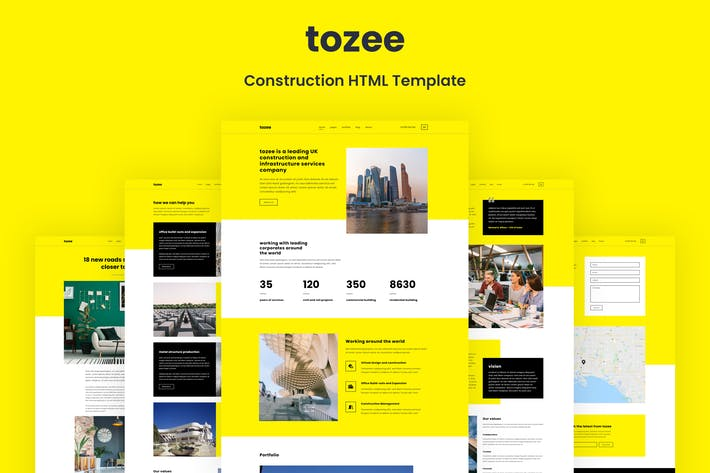 Thumbnail for Tozee - Modèle HTML de construction