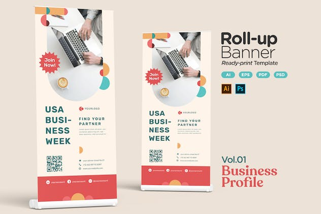 Roll-up Banner Vol.01 Business Profile Promotion