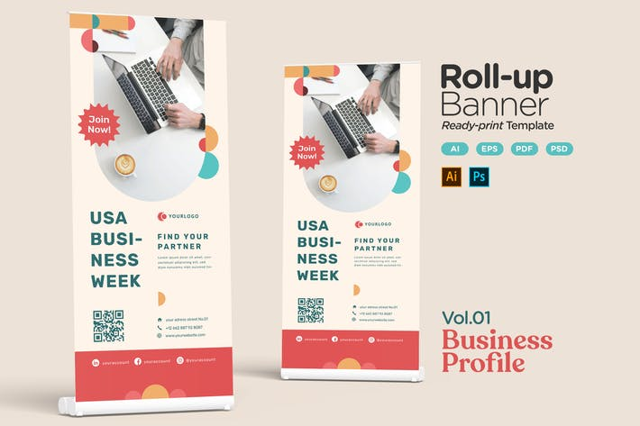 Thumbnail for Roll-up Banner Vol.01 Business Profile Promotion
