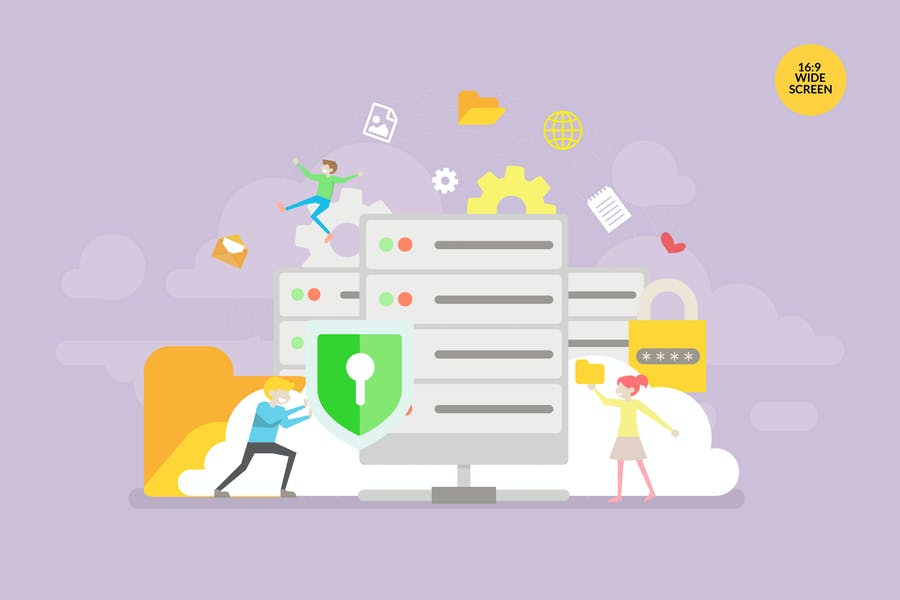 Database Security Vector Concept Illustration