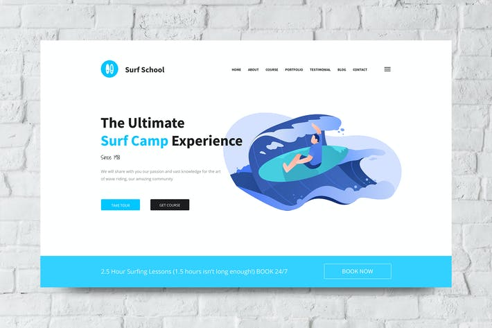 Thumbnail for Surf School Web Header PSD and Vector Template