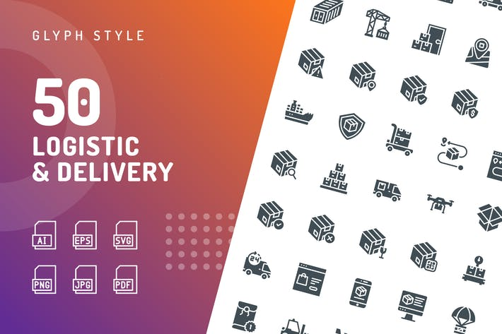 Logistic Delivery Glyphe Icons