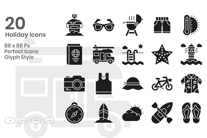 Thumbnail for 20 Holiday Icons Set - Glyph