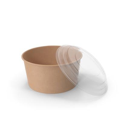 Cuenco de papel con tapa transparente para sopa para ensalada 32 oz 1000 ml abierto