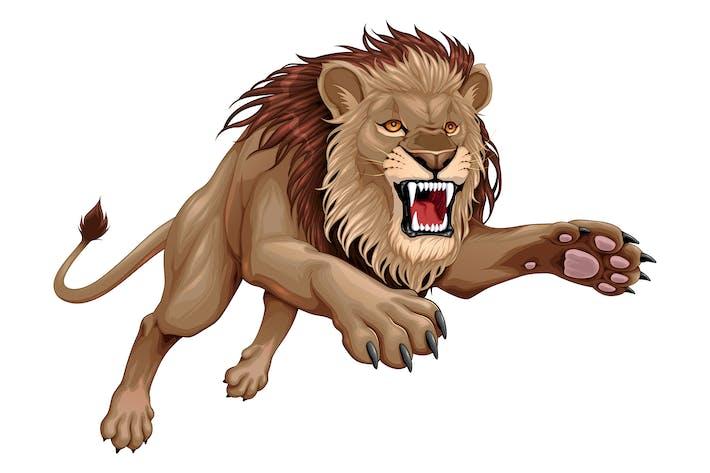 Wütend Löwe Springen