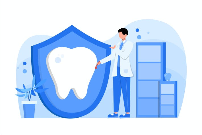 Cover Image For Dental Care Flat Vector Illustration