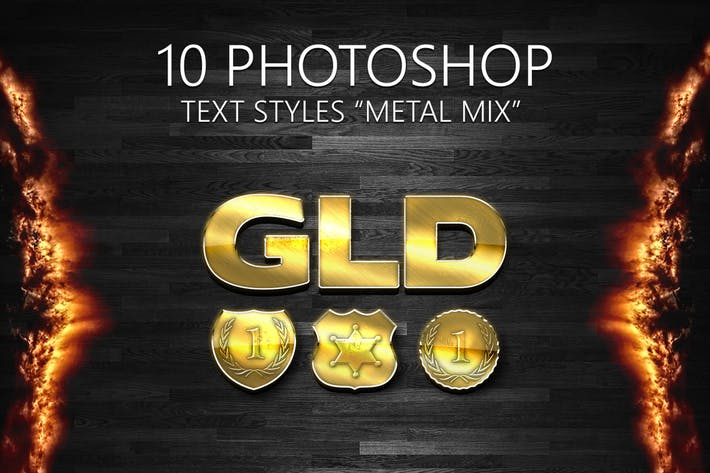 "Thumbnail for 10 Photoshop Styles ""METAL MIX"""