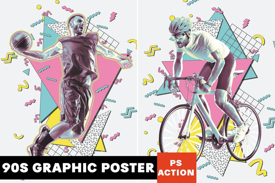 90's Graphic Poster Photoshop Action