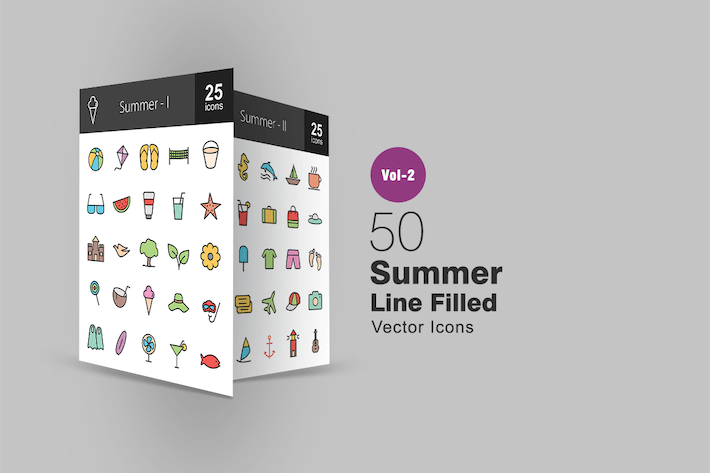 Thumbnail for 50 Summer Line Filled Icons