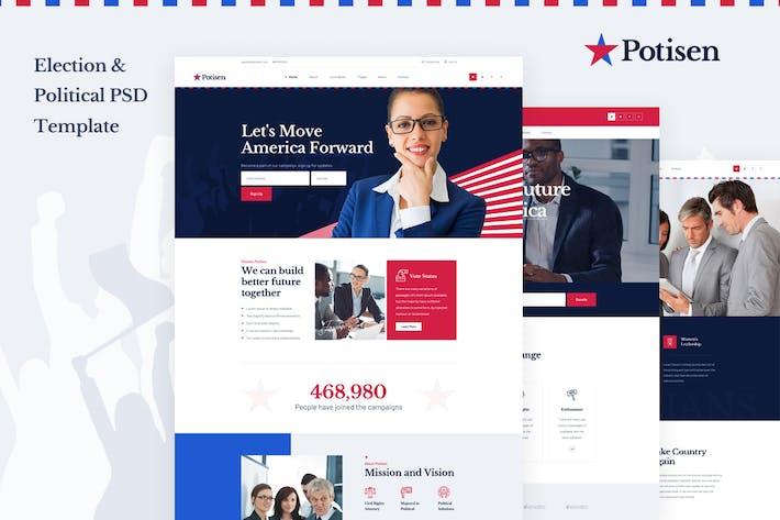 Thumbnail for Potisen - Election & Political PSD Modèle