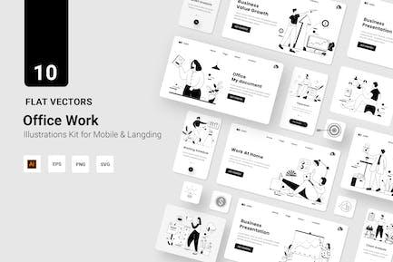 Línea plana de ilustración de Vectores de oficina