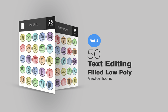 Thumbnail for 50 Text Editing Filled Low Poly Icons