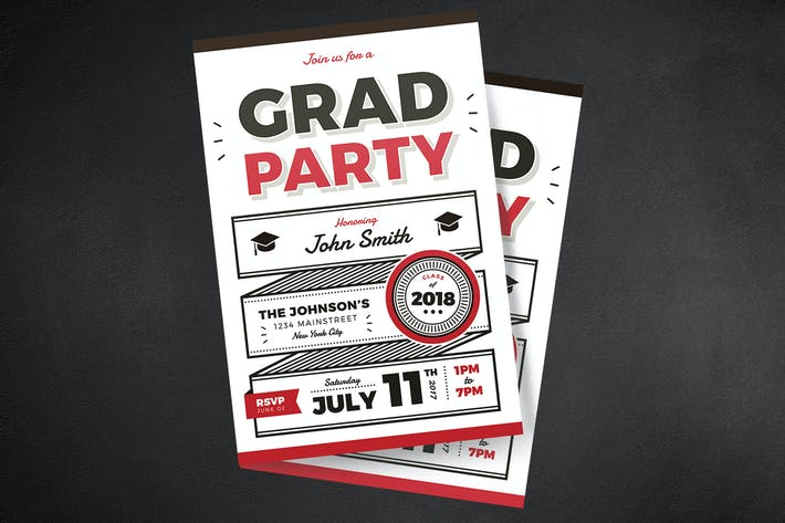 Cover Image For Typography Graduation Party Invitation