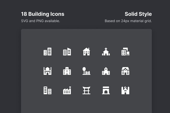 Thumbnail for Building Icons - Solid Style