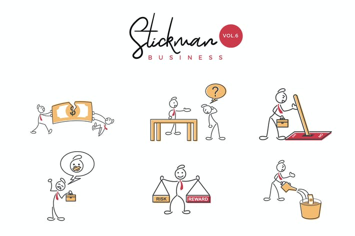 Thumbnail for Business Stickman Vector Illustration Set 6