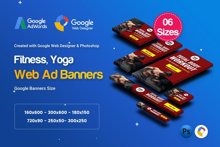 Thumbnail for C20 - Yoga & Fitness Banners HTML5 - GWD & PSD