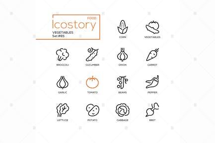 Gemüse - moderne Linie Design Stil Icons Set