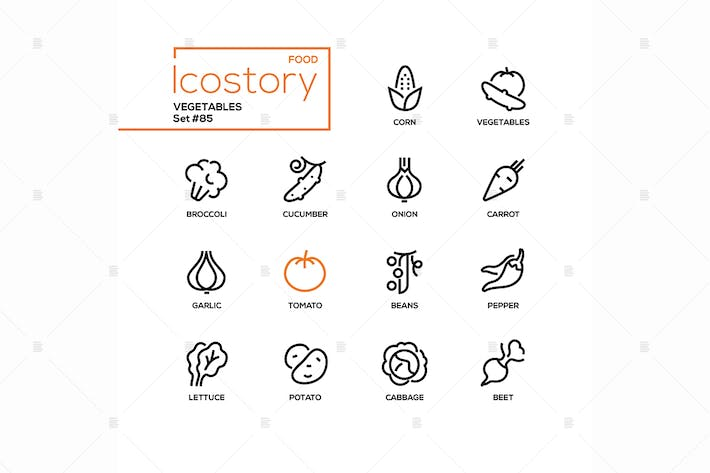 Thumbnail for Vegetables - modern line design style icons set
