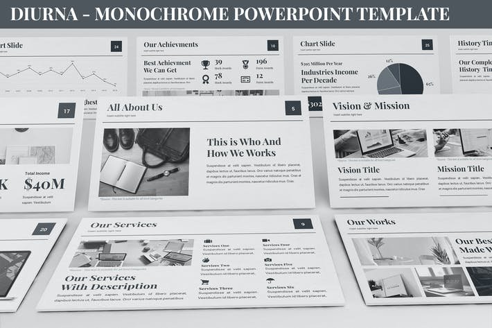 Thumbnail for Diurna - Monochrome Powerpoint Template
