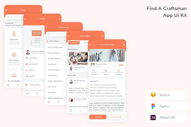 Find A Craftsman App UI Kit