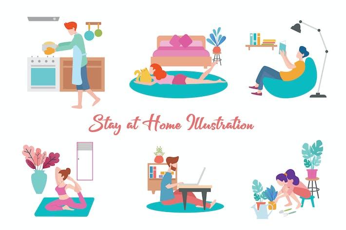 Thumbnail for Bleiben Sie zu Hause Illustration
