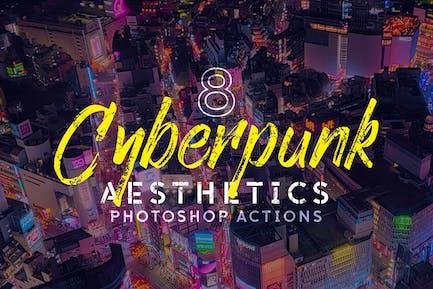 8 Cyberpunk Эстетика Photoshop Действия и LUT
