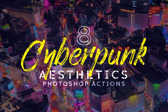 Thumbnail for 8 Cyberpunk Aesthetics Photoshop Actions and LUTs