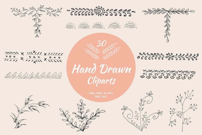 Thumbnail for 30 Premium Hand Drawn Cliparts