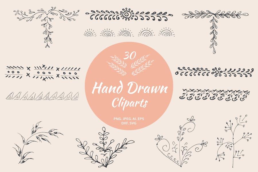 30 Premium Hand Drawn Cliparts