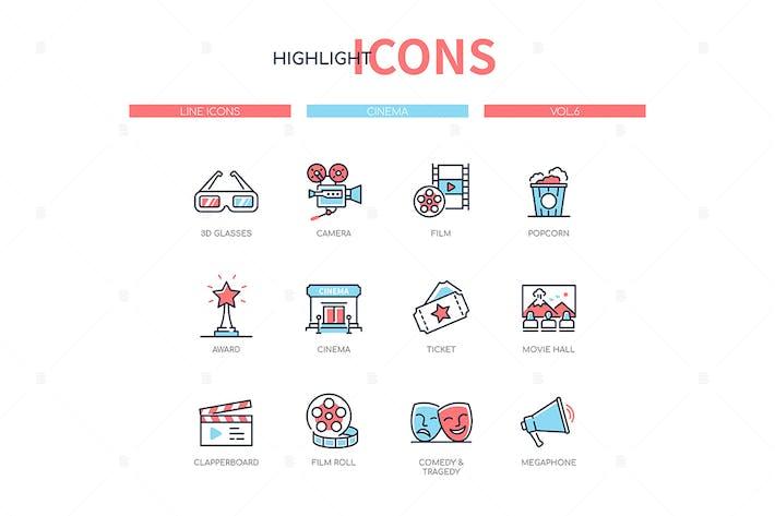 Thumbnail for Cinema - modern line design style icons set