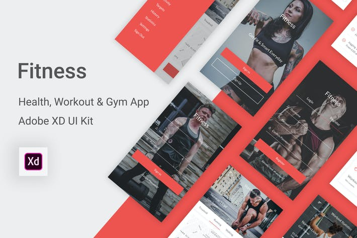 Thumbnail for Fitness - Health, Workout & Gym UI Kit in Adobe XD