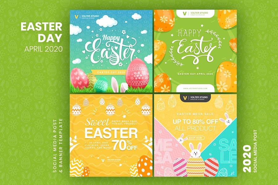 Easter Day Social Media Post Template