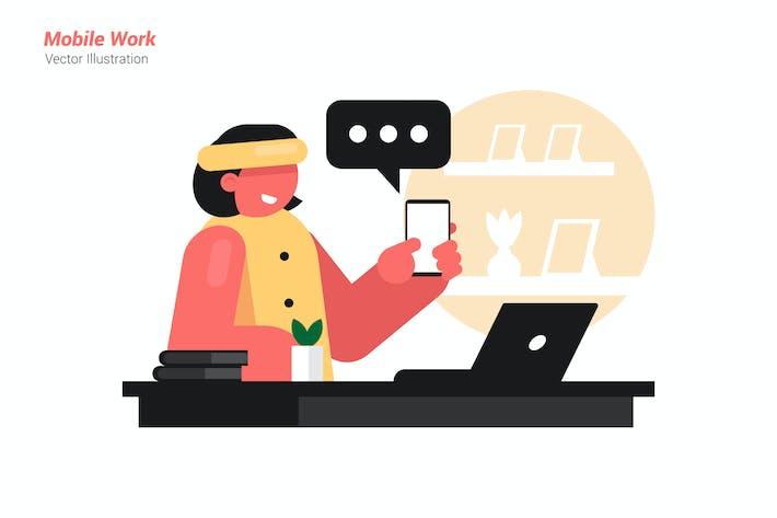 Mobile work - Vector Illustration