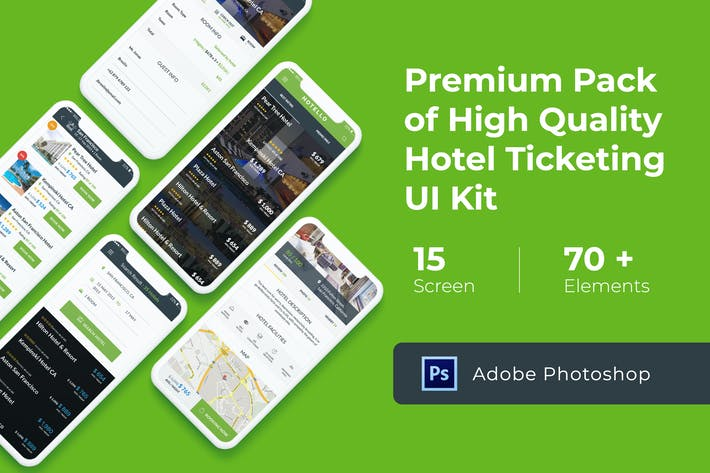 Thumbnail for Hotel Booking UI KIT for Photoshop