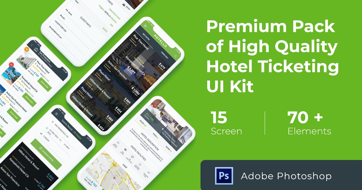 Download Hotel Booking UI KIT for Photoshop by WPBootstrap