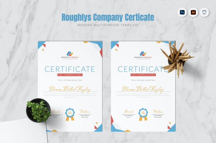 Thumbnail for Roughlys Company Certificate