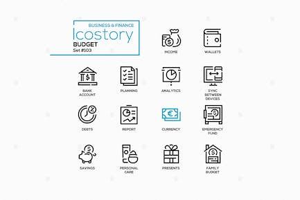 Budget - Linien-Design-StilIcons setzen
