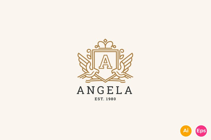 Thumbnail for Angela - Letter A Heraldry Logo Template