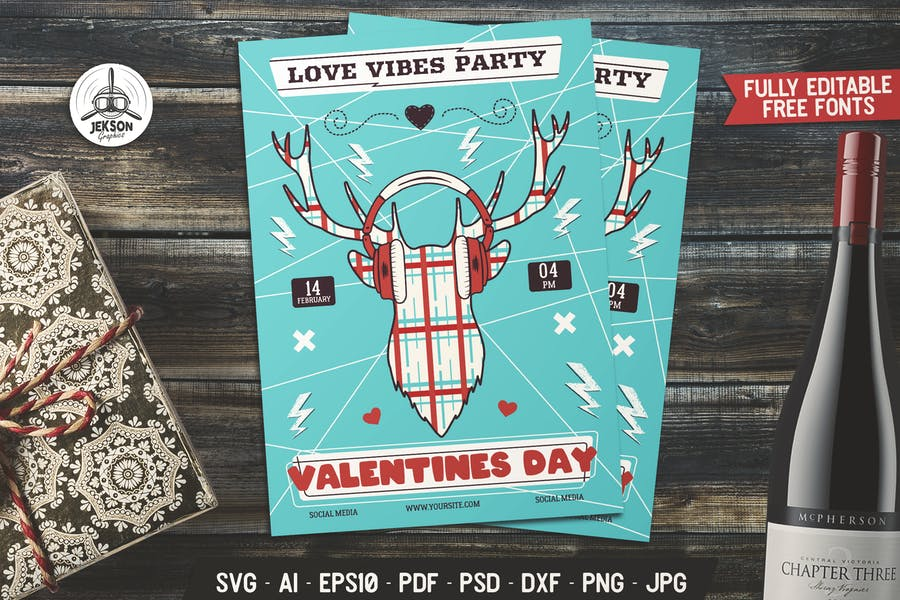 Valentines Day Card Love Flyer Brochure