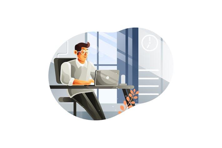 Thumbnail for Geschäftsmann arbeitet an einem Laptop in seinem Büro