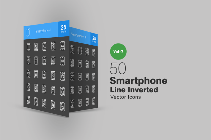 Thumbnail for 50 Smartphone Line Inverted Icons