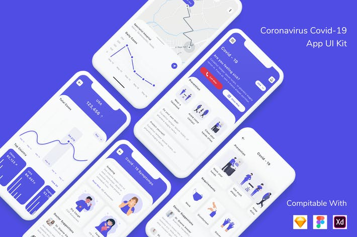 Thumbnail for Coronavirus Covid-19 App UI Kit