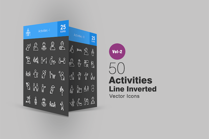 Thumbnail for 50 Activities Line Inverted Icons