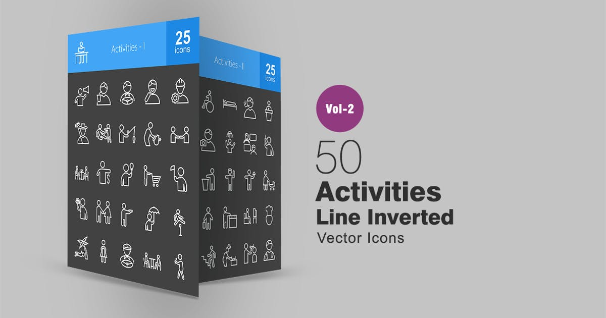 Download 50 Activities Line Inverted Icons by IconBunny